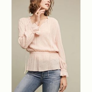 Anthropologie Pink Eyelet Blouse by Ghost British
